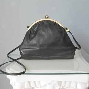 Vintage Leather Crossbody Black Dome Kiss Lock